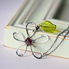 Hammered Wire Daisy Handmade Sterling Silver Pendant by Mayahelena, $38.00