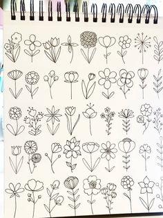 Drawing doodle drawings, doodle art, easy drawings, doodles of flowers, c. Bullet Journal Ideas Pages, Bullet Journal Inspiration, Doodle Drawings, Easy Drawings, Easy Flower Drawings, Flower Drawing Tutorials, Flower Doodles, Doodle Flowers, Easy To Draw Flowers