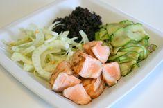 Riso venere con salmone, zucchine e finocchi al profumo d'arancia enerzona dieta zona ricette