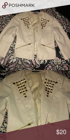Blazer Cream blazer with gold studs Jackets & Coats Blazers