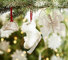 Glitter Tiara, Ice Skate & Butterfly Ornaments