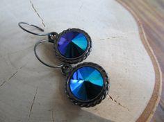 Blue Swarovski Crystal Earrings / Jet Glacier by SeptemberWillow