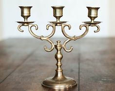 Vintage Brass 3 Three Arm Candelabra Gold by WindstoneVintage, $25.00