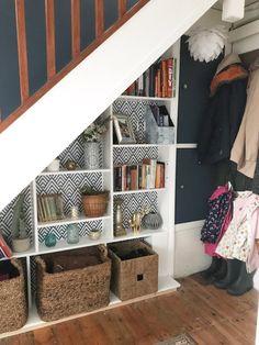 Under Stair Storage Ideas — Melanie Jade Design - Popular Desk Under Stairs, Under Stairs Pantry, Stair Shelves, Staircase Storage, Under Stair Storage, Attic Storage, Rope Shelves, Hidden Storage, Staircase Design