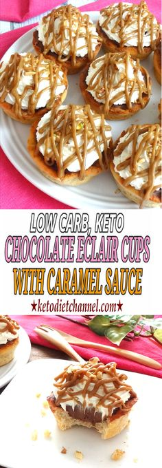 Chocolate Eclair Cups with Caramel Sauce - Low Carb, Keto, Gluten Free, Sugar Free