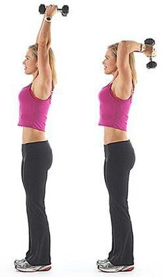 standing two hand dumbbell triceps extension