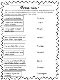 Geometry is looking quite different in grade than in years past. Students have to categorize and classify triangles, quadrilaterals and other polygons in different graphic organizers by their sides and angles. This is a fun free activity sheet where your Math Tutor, Math Teacher, Teaching Math, Teacher Stuff, Math Stations, Math Centers, Geometry Activities, 2d Shapes Activities, Educational Activities