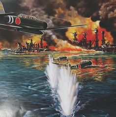 """""""Fires rage as Battleship Row comes under heavy attack, Pearl Harbor"""", David Craig Airplane Fighter, Airplane Art, Aviation World, Aviation Art, Fokker Dr1, Remember Pearl Harbor, Military Drawings, Imperial Japanese Navy, Airplane Photography"""