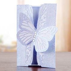 Utterly stunning lilac #butterfly #card design from the Mariposa Collection! Shop now: http://www.createandcraft.tv/papercraft/dies+and+storage/dies/couture+collection--mariposa.aspx?icn=Mariposa&ici=Couture_Mariposa #papercraft #cardmaking
