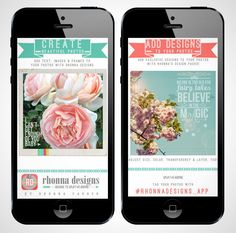 The Rhonna Designs app gives you masks, text overlays, backgrounds and borders galore.