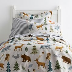 Night Forest Cotton Percale Queen Duvet Cover, Multi