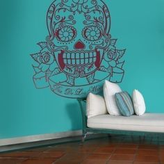 Dia de Los Muertos day of the dead sticker wall art. looks great against colored walls! Grand Menage, Sugar Skull Art, Sugar Skulls, Gothic House, My Living Room, Living Spaces, Cozy Corner, Adhesive Vinyl, Day Of The Dead