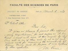 la carta de Marie Curie a la Dra. Abbe sí Describir el Aparato piezoeléctrico (Fuente: El Colegio de Médicos de Filadelfia)