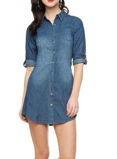 Rainbow Three-Quarter Sleeve Denim Shirtdress With Front Buttons Junior Plus Size Clothing, Rainbow Shop, Denim Shirt Dress, Shirtdress, Quarter Sleeve, Summer Wear, Plus Size Outfits, Buttons, Suede Jacket