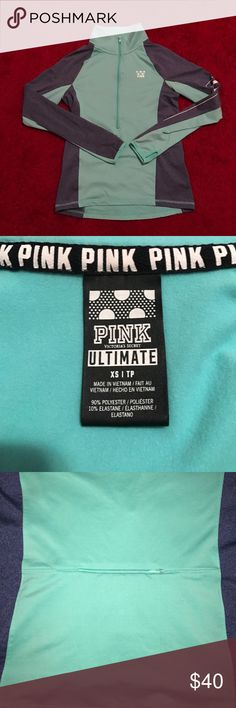 Pink/Victoria Secret 3/4 zip pull over This gorgeous mint green and navy pull-over is basically brand new. Worn maybe once but no tags. Super soft and easy access pocket in the back! PINK Victoria's Secret Tops