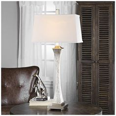 Uttermost Vella Silver-Champagne Leaf Metallic Table Lamp - #9W449 | Lamps Plus