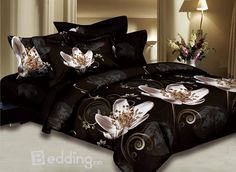 Noble Dark Brown Cotton 4 Piece Bed Sets with Pink Flower Interior House Colors, Interior Paint, Interior Decorating, Bedroom Bed, Bedroom Decor, Bedroom Ideas, Master Bedroom, Interior Design Programs, King Bedding Sets