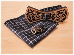 Muszka drewniana - zestaw trójkaty - WoodWorx-design - Muchy męskie