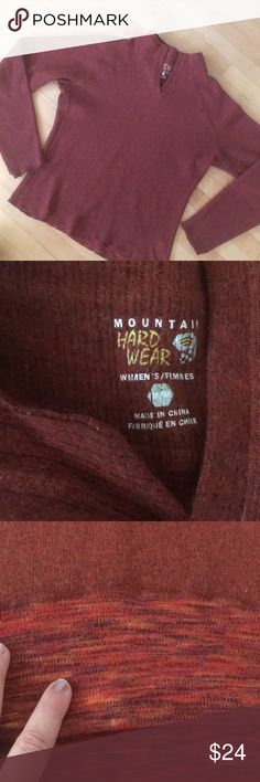 Mountain Hard wear Seraphin Sweater Brick Red Med My favorite sweater has a great collar and thumb holes, no don't worry if you forgot your gloves. Wear it with denim or for working out - this sweater has tons of style. Mountain Hard Wear Sweaters V-Necks