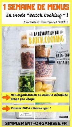 Batch Cooking: 1 week of menus Easy Healthy Meal Prep, Easy Healthy Recipes, Healthy Cooking, Crockpot Recipes, Cooking Dishes, Batch Cooking, Chai Tea Recipe, Healthy Breakfast For Kids, Cooking Light