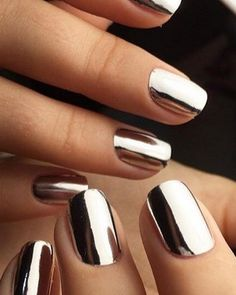 Mirror Mirror on the mani! Check out this mirror glam nail trend.