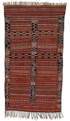 "Africa | Moroccan Berber Saddle Rug ~ ""Rataya"" | ca. 1890 - 1925 | Wool, cotton"