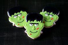 Frankenstein Hand Decorated Sugar Cookies // Halloween // Cookie Favors
