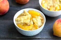 This Crock Pot Peach Cobbler is a healthy dessert recipe for a summer day. No need to turn on the oven with this delicious recipe! Gluten-free, dairy-free