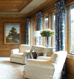 Room Ideas: Distinguished blue velvet and other fabrics soften an all wood room and make the ceilings look taller. Knotty Pine Living Room, Knotty Pine Decor, Knotty Pine Rooms, Dark Blue Living Room, Dark Blue Walls, Cabana, Cedar Walls, Curtains Living, White Curtains