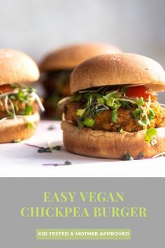 The BEST CHICKPEA BURGER recipe you will ever make. This easy vegan gluten-free chickpea burger recipe is healthy, spicy, and crispy. Try this simple tasty veggie burger for dinner or lunch. You can grill, pan fry or bake these delicious burgers any way you like. #vegan #veggieburger Vegan Lunch Recipes, Vegan Lunches, Delicious Vegan Recipes, Vegan Dinners, Tasty, Weeknight Dinners, Healthy Dinners, Amazing Recipes, Vegan Chickpea Burger