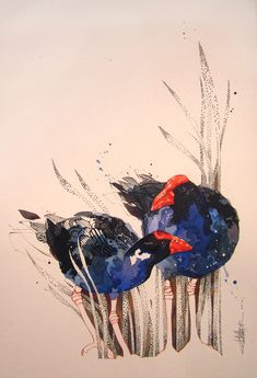 Official Rachel Walker Page. New Zealand watercolour, spray paint, pen and ink artist creating splashy celebrations of native and rare animals. Watercolor Paintings, Watercolours, Watercolour Birds, Rachel Walker, Tiger Species, Ballet Posters, Nz Art, Kiwiana, Bird Artwork