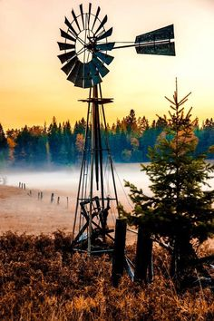 Windmill On A Misty Morning... Reminds me of my early morning drives through the back roads of Oregon