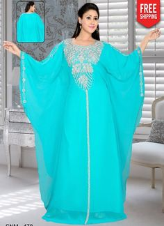 Sky blue kaftan with round neckline,silver embroidery and Full sleeves.Bright silver work with stone. Moroccan Caftan, Moroccan Style, Kids Kaftan, Black Anarkali, Men's Robes, Silver Work, Turquoise Color, How To Dye Fabric, Chiffon