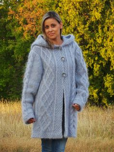 MADE to ORDER  Extra Thick Cable Hand Knit Sweater Cardigan Mohair  Fuzzy Coat Jumper Jersey Turtleneck Hooded Jacket on Etsy, $385.00