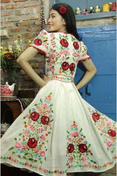 batik amarillis's birthday dress-PO (excluded obi belt) Pretty Dresses, Beautiful Dresses, Embroidery Dress, Folk Embroidery, Amarillis, Folk Clothing, Mexican Dresses, Batik Dress, Birthday Dresses