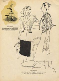 Rene Gruau 1946 Jacques Fath, Elsa Schiaparelli, Pierre Balmain, Lola Prusac, Marie Claire, Christian Dior, Rene Gruau, Magazine Mode, Italian Fashion Designers