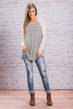 """""""Tattered And Torn Skinny Jeans, Denim"""" These distressed skinnies can give a bit of edge and style to any outfit! They are wonderfully casual and their medium wash makes them so easily worn with just about any color top! #Newarrivals #shopthemint"""