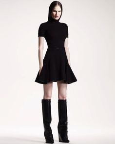 Black Satin Trimmed Highneck Dress