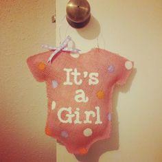 Baby girl burlap hanger