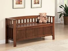 Beautiful Mission Style Lift-Top Solid Wood Blanket Storage Sitting Bench In Medium Brown Finish. (Item# Vista Furniture CF501008)