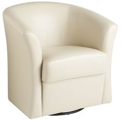 Isaac Swivel Chair - Ivory from Pier One. It swivels and rocks and isn't too deep for my legs.
