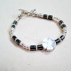 Children's Flower Bracelet Gray Bracelet by prettylittlepretties, $12.00