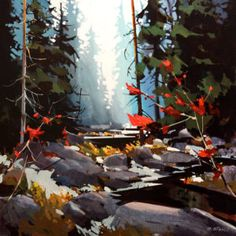 """""""Lynn Canyon in Soft Blue,"""" by Michael O'Toole 24 x 24 - acrylic Watercolor Landscape, Abstract Landscape, Landscape Paintings, Watercolor Paintings, Canadian Art, Paintings I Love, Cool Landscapes, Tree Art, Beautiful Artwork"""