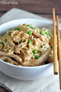 Easily dress up Ramen noodles with a sweet and sour sauce, baby peas, and tender pork loin strips!