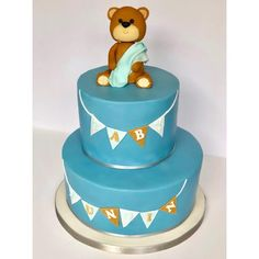Baby Shower Cake w/ teddy bear cake topper
