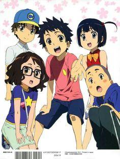 Anohana - Yukiatsu, Jintan, Tsuruko, Anaru, and Poppo
