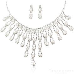 Grand Multilayers Alloy with Rhinestone and Pearl Wedding Jewelry Set(Including Necklace and Earrings) at Storedress.com