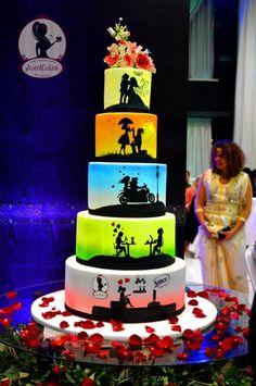 Love story Wedding cake - Cake by Sweetcakes Wedding Cakes With Cupcakes, Unique Wedding Cakes, Beautiful Wedding Cakes, Beautiful Cakes, Amazing Cakes, Cupcake Cakes, Aniversary Cakes, Silhouette Cake, Love Story Wedding
