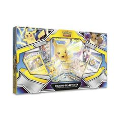 Official Pokémon TCG: Pikachu-GX & Eevee-GX Special Collection with foil promo cards featuring Pikachu-GX, Eevee-GX, Pikachu, and Eevee, plus an oversize card and 4 booster packs. Pokemon Sets, Cool Pokemon, Pokemon Cards, Pikachu Pikachu, Satoshi Tajiri, Pokemon Merchandise, Online Cards, Pokemon Pocket, Pokemon Trading Card