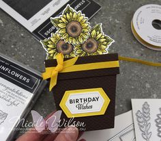 Nicole Wilson Independent Stampin' Up!® Demonstrator - Social Stamping - Out of the box theme - a flowerpot box card #stampinup #thedimensionals #nicolewilson #celebratesunflowers #sunflowers #boxcard #flowerpot #flowerpotboxcard #socialstamping #3dcard #thedimensionals3dtutorials New Catalogue, Stamping Up, Sunflowers, Birthday Wishes, Flower Pots, Finding Yourself, South Pacific, Box, Florals